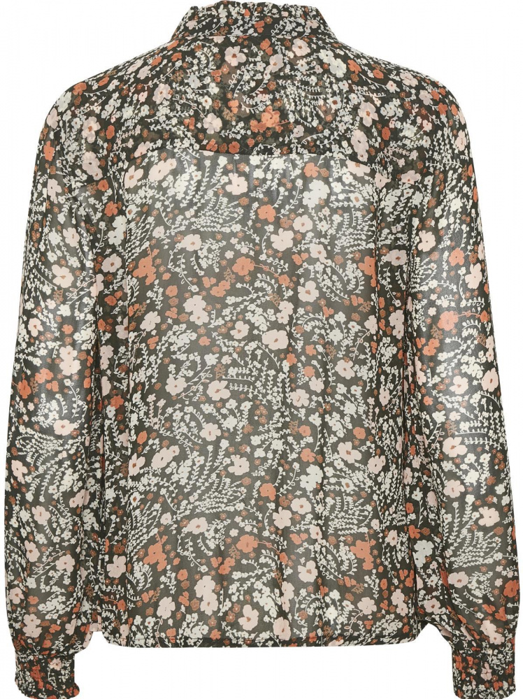 Part Two Esin Bluse Flower Print Dark Green Frøken Pedersen